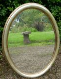 Oval Silver Gilt Hanging Wall Mirror